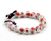 10mm Porcelain Flower Leaf Tibetan Buddhist Prayer Beads Mala Bracelet  T3310