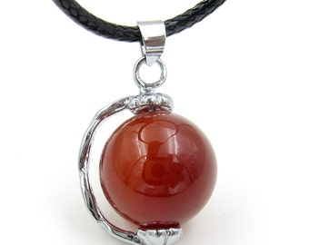 Fashion Jewelry 14mm Red Agate Ball Bead Alloy Metal Pendant Necklace  T3246