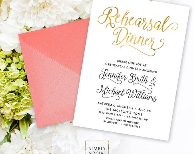 Calligraphy Rehearsal Dinner Invitation - Faux Gold Foil Calligraphy Typography Printable Classy