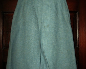 Vintage 1950s Blue Green Gray Tweed Wool Skirt