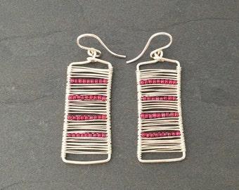 Sterling Silver Wire Wrapped Rectangle Earrings with Garnets Minimalist Earrings Modern Earrings Dainty Jewerly