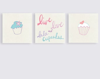 Cupcake Art, Cupcake Canvas,  Kitchen Art, Wall Art Set, Food Art, Live Love and Bake cupcakes