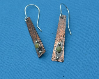 Mixed Metal Copper and Sterling Silver Earrings with Kingman Turquoise