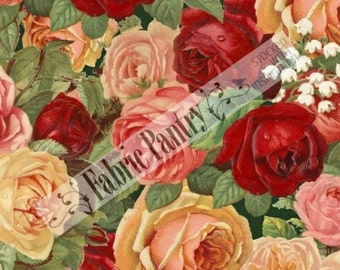 Sale! HOME SWEET HOME~ Packed Roses ~ Quilt Fabric ~ Windham ~ 33359-X ~ Sold By The Half Yard
