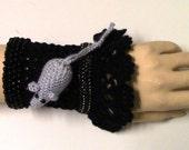 Bracelet boho chic crocheted,Crochet Cuff Bracelet, Beaded Bracelet, Crochet Jewelry, Black Crochet Bracelet Cuff, Freeform crochet Cuff