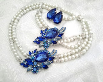 Something Blue Bridal Jewelry SET -( 3 items ) blue, Swarovski Pearls Necklace bracelet and Earrings  Something Blue Weddings necklace Brid