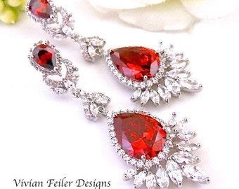 RED Wedding Earrings, RED Earrings, Scarlet Bridal Earrings STATEMENT Glamorous Tear Drop Pageant Earrings
