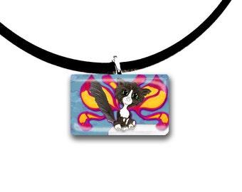 Frixie pixie cat, Fantasy art glass tile pendant, tuxedo cat, fairy cat, black and white cat
