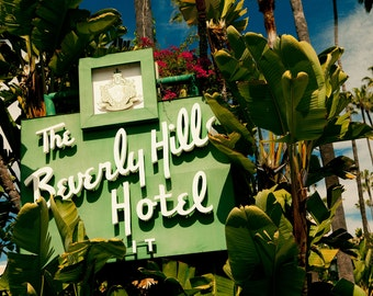 Beverly Hills Hotel Neon Sign Photograph | Mid Century Modern Art | Hollywood Regency Decor | Regency Moderne Style