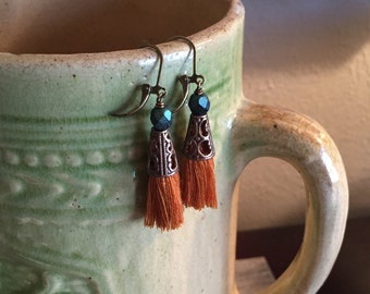 Teal and Goldenrod Tassel Earrings - Boho Morocco