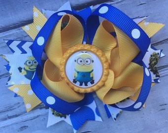 Girls Layered Minions Hair Bow Minions Hair Clip Minions Hair Bow Inspired Minions Birthday Bow Minions Hair Bow Minions Hair Clip