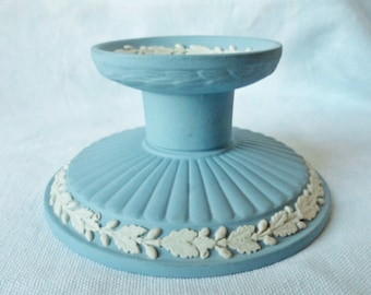 Vintage Wedgwood Blue CAMEO Jasper ware Single Candlestick Candle Holder