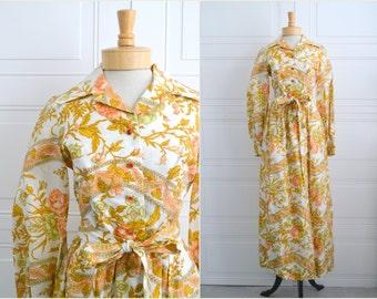 1960s California Calliope Autumnal Floral Maxi Dress
