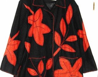 Vintage ladies coat, knockout design, wool, XL