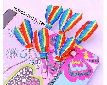 Rainbow Planner Clips , book Accessories , Calender Clips, Ribbon Planner Clips, Gay Pride Celabration Clips ,By:tranquilityy