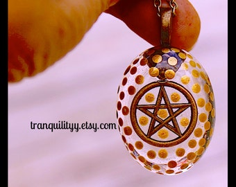 Pentagram Necklace ,Supernatural Necklace pentacle Necklace Clear Resin Necklace , Hipster, Gothic, By: Tranquilityy