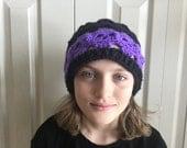 Custom for RUBY purple and black skull hat