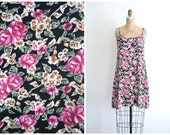 CLEARANCE SALE // 90s floral print slip dress - vintage 90s summer dress / Soft Grunge - kinderwhore / Pink Roses - soft rayon