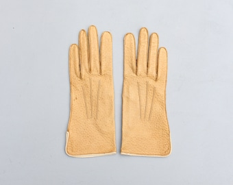 ladies vintage camel leather driving gloves - genuine peccary pigskin / Mark Cross - 1950s gloves / women's size 6 3/4