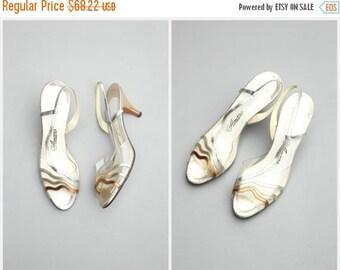 SALE / vintage 70s disco party metallic slingbacks - sexy kitten heels / Amano - Studio 54 - 1970s ladies shoes / Glam - open toe slingback