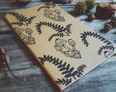 Fern and Fungus Moleskine Journal Notebook Hand Carved Design Botany Nature Fall Autumn Travel Camp Mushroom Writer Christmas Hostess Gift