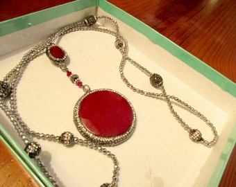Dazzling GARNET Red JADE PENDANTS Framed w/Pave Crystal Hematite & Rhinestones on Pave Silver and Hematite Chain w/8 Pave Beads - Wow!