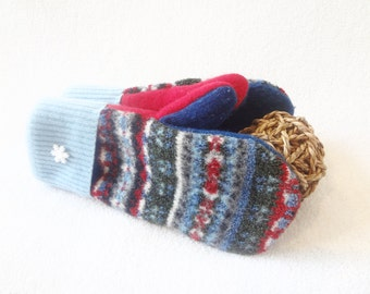 Christmas Sweater Mittens RED & AQUA Felted Fair Isle Sweater Wool Gloves Red Christmas Mitts Fleece Lined Gift Under 50 by WormeWoole