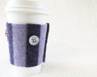 Coffee Sweater PURPLE STRIPED Coffee Sleeve / Coffee Cozy Handmade Wool Coffee Cosy by WormeWoole