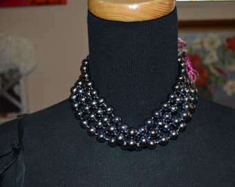 Pearlized Gray Glass Beaded Necklace  Paris Chic Boho Party Choker HOLIDAY