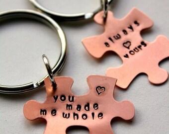 SALE READY TO Ship Boyfriend Gift - Valentines For Him, Puzzle Piece Keychain,  Gift For Boyfriend , Valentines Day Gift, Sexy Valentines