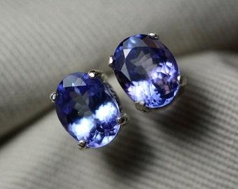 Tanzanite Earrings, Natural Tanzanite Stud Earrings 3.48 Carats Appraised at 1914.00 Sterling Silver Blue Tanzanite Jewellery