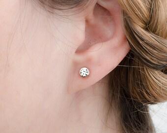 White Zirconia Stud Earrings, Sterling Silver  Gold Plated, Gemstone Earrings, Minimalist Lunaijewelry, Handmade, Gift , STD076WCZ