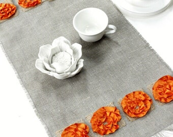 Linen Floral Birthday Table Runner - Chic Linen Table Decoration - Natural Linen with Satin Flower Accents  - Gift Idea