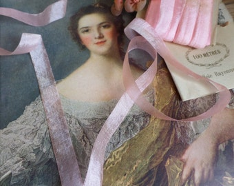 vintage and unused French pink rococo ribbon for embroidery  10 yards