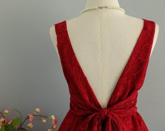 Party V Backless Dress Burgundy Lace Dress Prom Party Dress Red Wedding Dress Burgundy Lace Bridesmaid Dress Backless Dress XS-XL