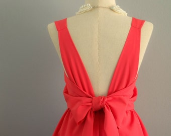 Coral dress coral party dress coral prom dress coral cocktail dress bow back dress coral bridesmaid dresses coral backless dress