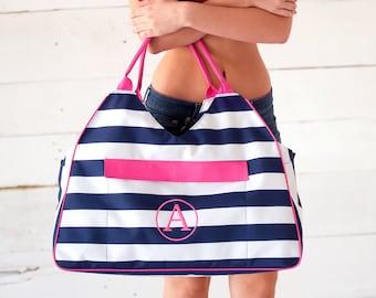 Monogrammed Prep Stripe Beach Bag