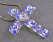 """Dichroic Cremation Jewelry - CROSS Layered Diamonds Style Pink Blue Fused Glass Memorial Pendant Stained Glass - Custom Made - 1.75"""" / 44mm"""