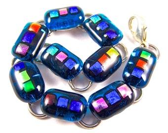 "Dichroic Bracelet - Blue Gold Pink Orange Green Purple Rainbow Fused Glass Turquoise Gemstone Dicro Links- 1/2"" 12-15mm Nuggets"