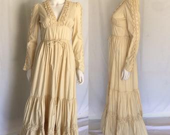 Vintage Gunne Sax Cream Cotton Renaissance Maxi Dress - Game of Thrones - Boho Chic
