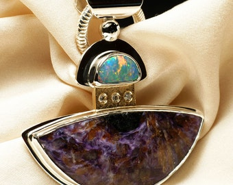 Opal Diamond Charoite in Sterling Silver and Gold Pendant Necklace