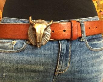 Bronze Cow Skull Belt Buckle