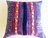 Thai Hmong Throw Pillow - Indigo Floral Boho Pillow - Vintage Batik Textile