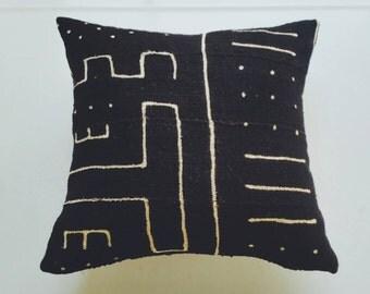 Black Mudcloth Pillow Cover - Bohemian Modern Pillow - Ethnic Boho Decor