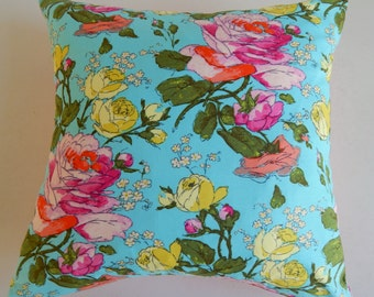 Vibrant Floral Pillow Cover - Cottage Chic Modern - Girly Blue Pink Citron Throw