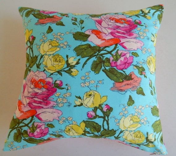 CLEARANCE Vibrant Floral Pillow Cover - Cottage Chic Modern - Girly Blue Pink Citron Throw