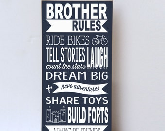 Brother Rules Wood Sign, Boys Room Decor, Playroom Wall Sign, Brother Sign, Wall Art for Brothers, Nursery Decor, Wall Sign Brother Rules