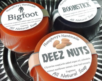 PICK ANY 3 Men's Shave Soap & Beard Wash, Three Men's Natural Soaps with Argan Oil, Shampoo Round Puck, Man Soap, Variety Pack Sampler