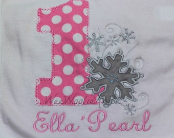 Girls Birthday Onederland T Shirt  or Bib Personalized Snowflakes Wonderland First Birthday PINK GREY Silver Any Number Applique