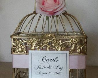 Gold Bird Cage-Wedding card holder